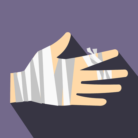 sprain: Injured hand wrapped in bandage icon in flat style on a violet background