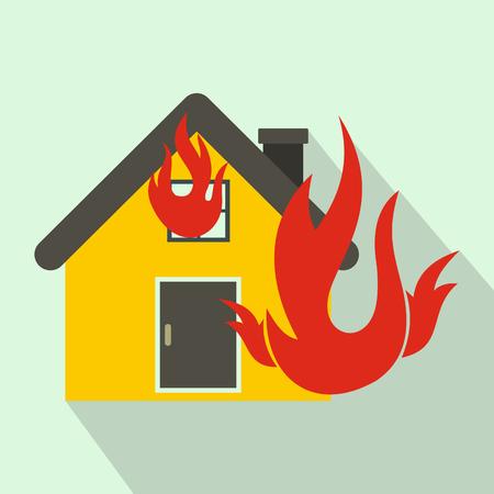 Maison sur le feu icône de style à plat sur un fond bleu clair