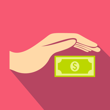 protects: Hand protects dollar banknote icon in flat style on a pink background