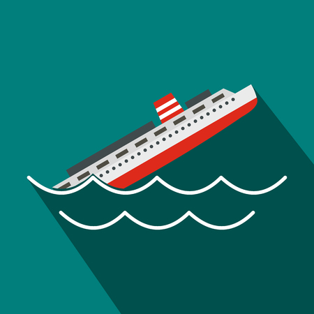 Sinking ship icon in flat style on a blue background