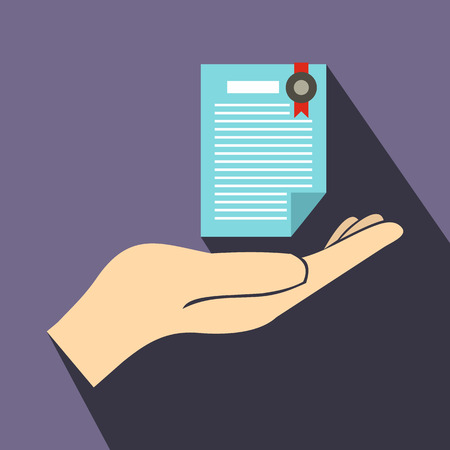 assured: Hand holds insurance certificate icon in flat style on a violet background Illustration