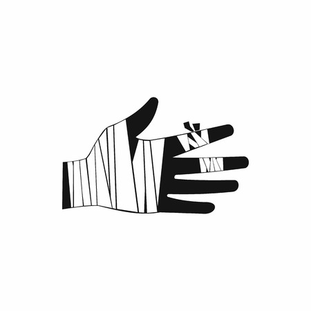 strapping: Injured hand wrapped in bandage icon in simple style on a white background Illustration