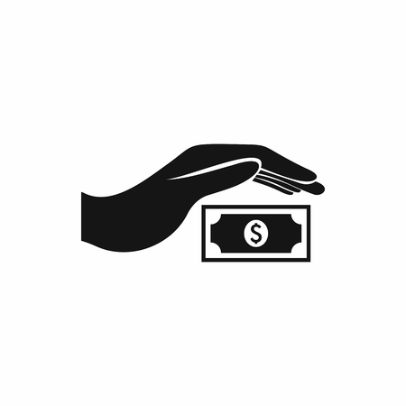 protects: Hand protects dollar banknote icon in simple style on a white background