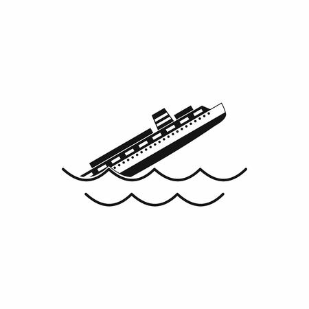 Tonący statek ikonę w prostym stylu na białym tle