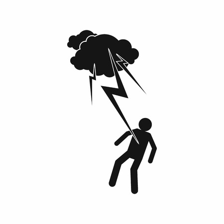 struck: Man struck icon in simple style on a white background Illustration