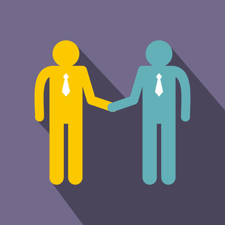 pact: Two men shaking hands icon in flat style on a violet background Illustration