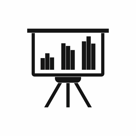 presentation screen: Presentation screen with diagram icon in simple style on a white background Illustration