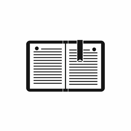 open notebook: Open notebook with bookmark icon in simple style on a white background