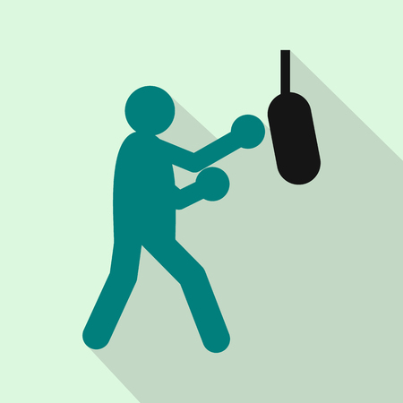 punching: Boxer hitting the punching bag icon in flat style on a light blue background