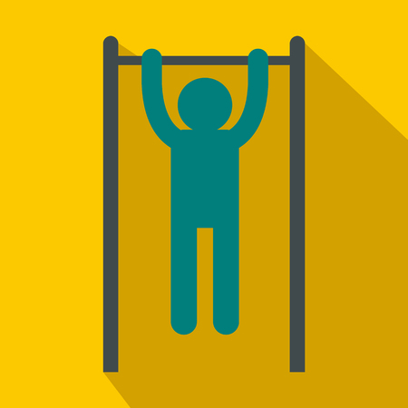 gripping bars: Man doing pull ups on the horizontal bar icon in flat style on a yellow background Illustration