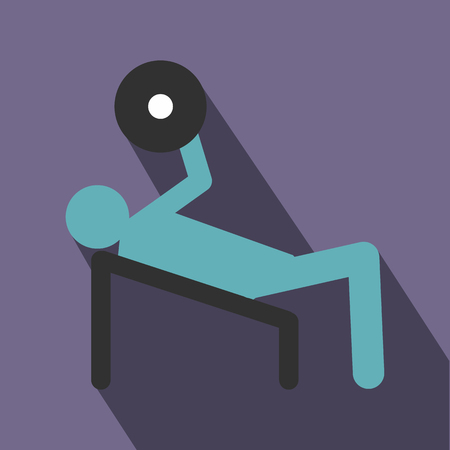 personal trainer: Man trains in the gym bar bench press icon in flat style on a violet background