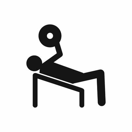 masculinity: Man trains in the gym bar bench press icon in simple style on a white background