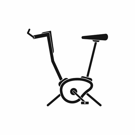 hometrainer: Exercise bike icon in simple style on a white background