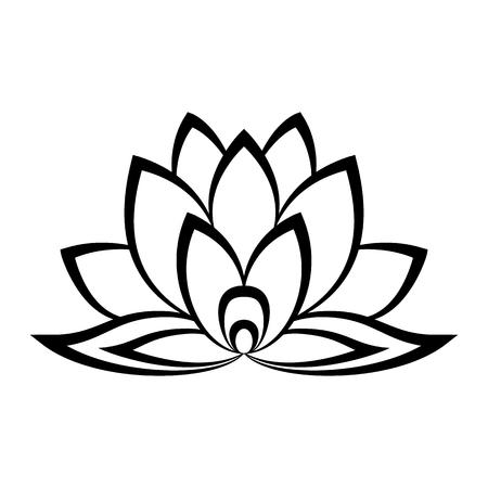 Lotusbloem teken in eenvoudige stijl geïsoleerd op wit Stockfoto - 55597826