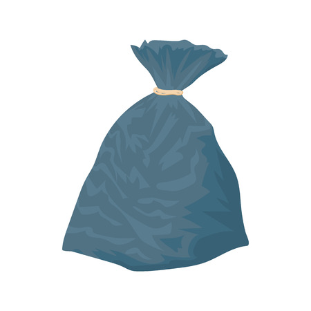 garbage bag: Garbage bag icon in cartoon style on a white background