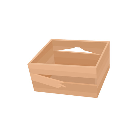 empty box: Broken wooden crate icon in cartoon style on a white background