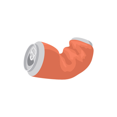 canned drink: Crumpled empty soda or beer can icon in cartoon style on a white background