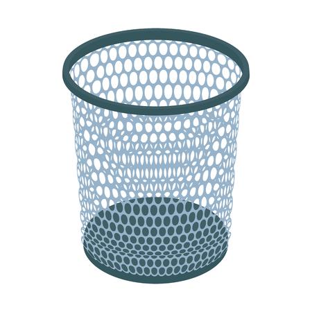cesto basura: icono de la papelera en el estilo de dibujos animados sobre un fondo blanco Vectores