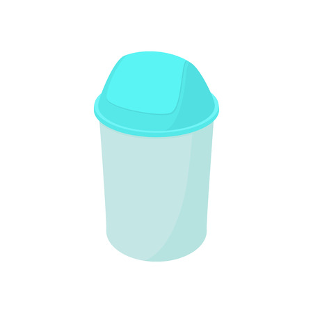dispose: Trash plastic can with lid icon in cartoon style on a white background