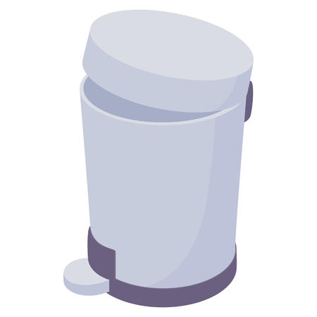 Pedal dust bin icon in cartoon style on a white background  イラスト・ベクター素材