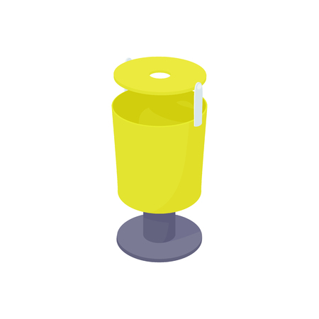 refuse: Outdoor yellow bin icon in cartoon style on a white background Illustration