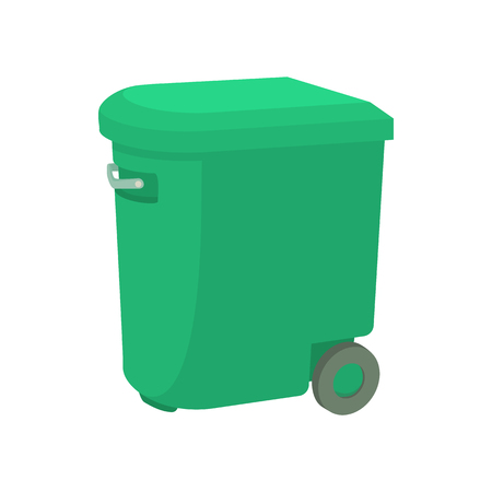 garbage container: Green garbage container icon in cartoon style on a white background Illustration