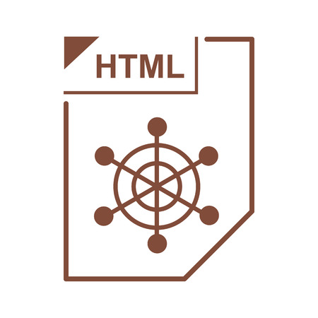 html: HTML file icon in cartoon style on a white background Illustration