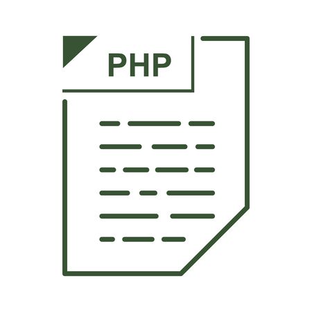 php: PHP file icon in cartoon style on a white background