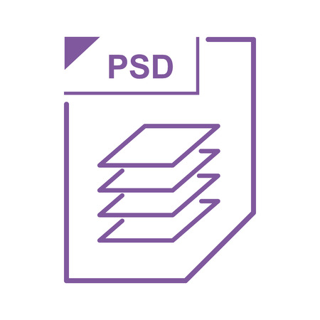 psd: PSD file icon in cartoon style on a white background