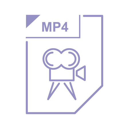 mp4: MP4 file icon in cartoon style on a white background Illustration