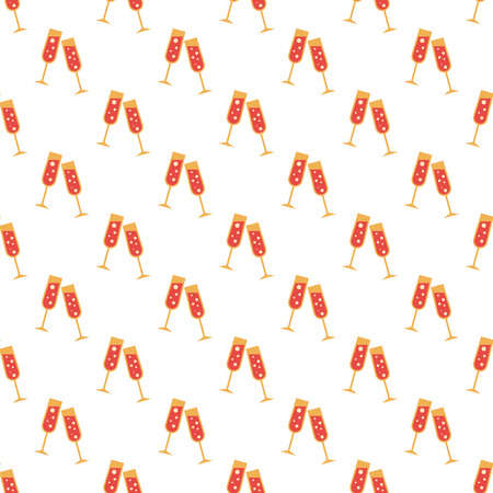 champagne orange: Two glasses pattern seamless best for any design