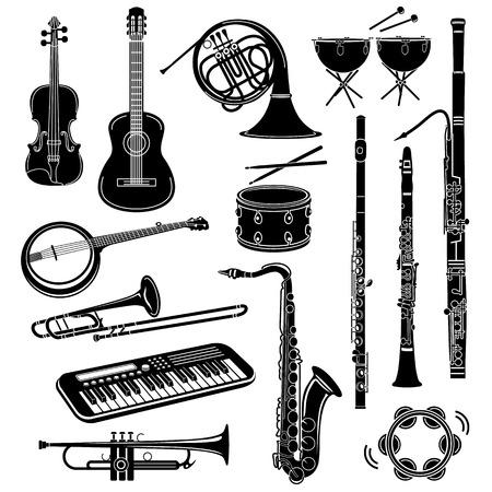 Icone di strumenti musicali in stile semplice su uno sfondo bianco Vettoriali