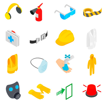 Safety icons set in isometric 3d style on a white background