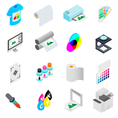 Printing icons set in isometric 3d style on a white background Stock Vector - 55956551