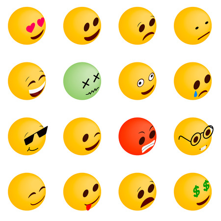 scheming: Emoticon icons set in isometric 3d style on a white background Illustration
