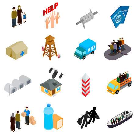 refugee: Refugees icons set in isometric 3d style on a white background