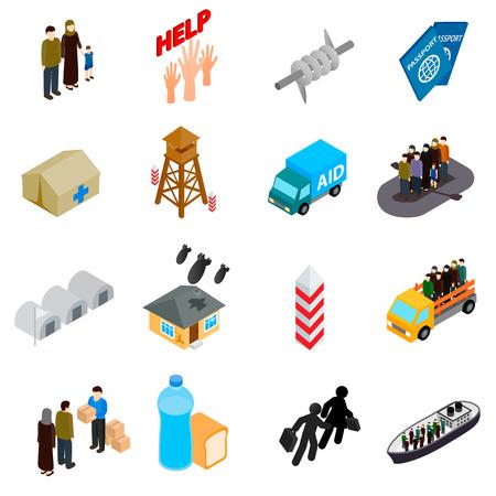 Vluchtelingen pictogrammen in isometrische 3D-stijl op een witte achtergrond Stock Illustratie