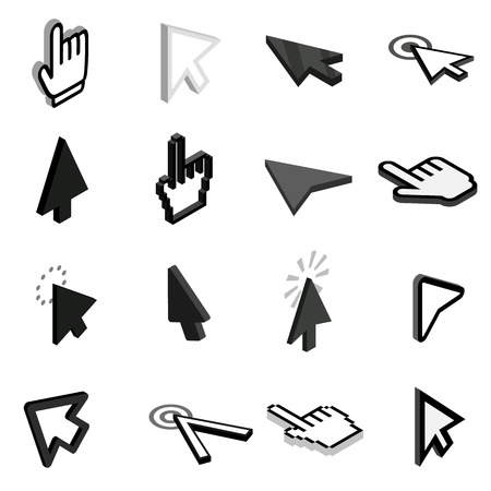 help section: Mouse pointer icons set in isometric 3d style on a white background