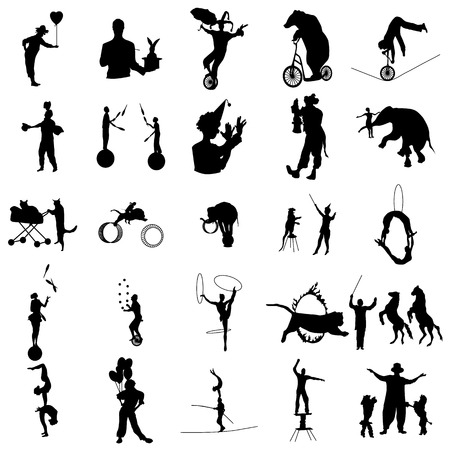 Circus silhouette set in simple style on a white background
