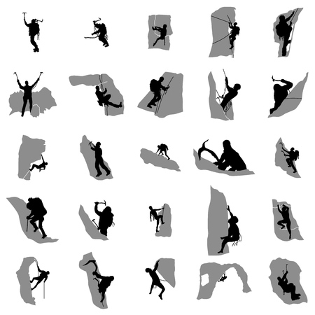 climbers: Climbers silhouette set in simple style on a white background