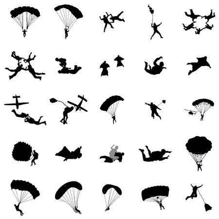 Parachutist silhouette set in simple style on a white background