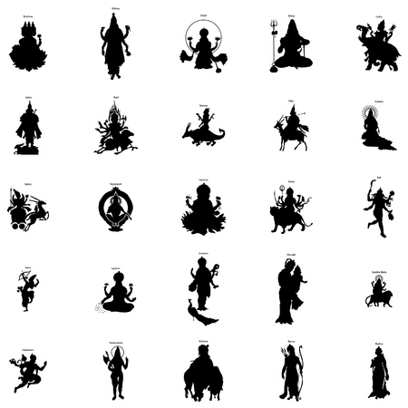 Indian gods silhouette set in simple style on a white background Stock Illustratie