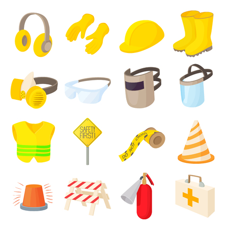 Safety icons set in cartoon style on a white background