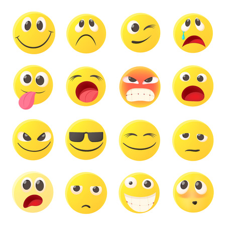 scheming: Emoticon icons set in cartoon style on a white background Illustration