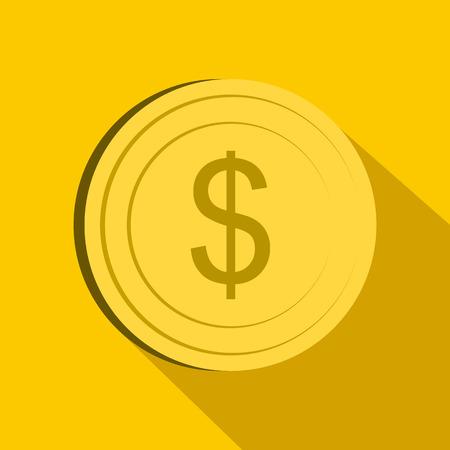 Dollar icon in flat style on yellow background Ilustração Vetorial