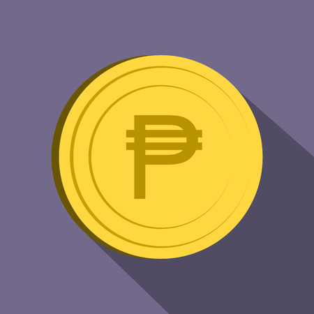 peso: Peso icon in flat style on purple background