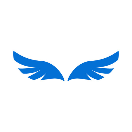 angel white: A pair of blue angel wings icon in simple style isolated on white background Illustration