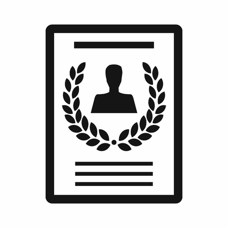 best employee: Certificate of the best employee icon in simple style on a white background