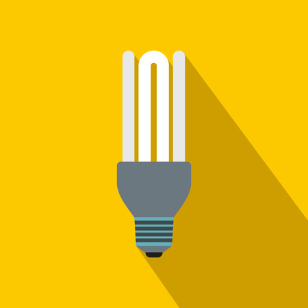 fluorescence: Fluorescence lamp icon in flat style on a yellow background