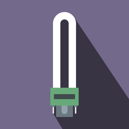 fluorescence: Fluorescence lamp icon in flat style on a violet background